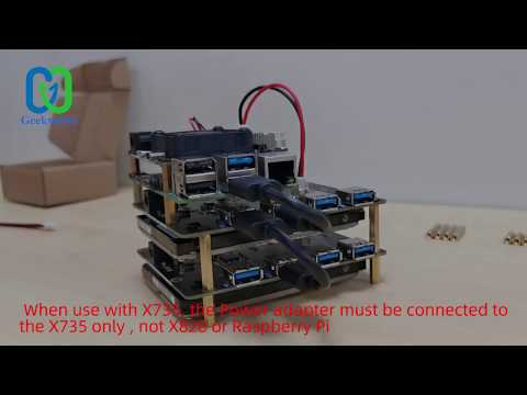 """How to Install Raspberry Pi + X828 2.5"""" SATA Cluster Storage Board+X735 Power Management Board?"""