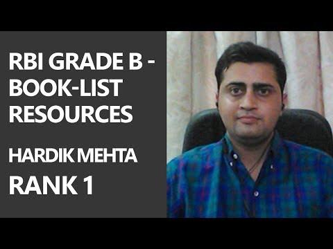 (Hindi) [Rank 1] RBI Grade B - Book-list/ Resources by Hardik Mehta