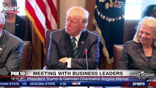 FNN: President Trump And Chancellor Angela Merkel Meet with German Business Leaders at White House