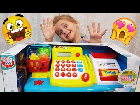 Детская Касса Игра Играем в Магазин Видео для детей Играем вместе Златуня играет с мамой   Златуня