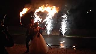 Огненное сердце с пиротехническими фонтанами. Магнитогорск, 2017