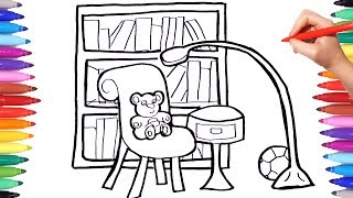 How to draw a living room with library books lamp and chair | Learn drawing and coloring