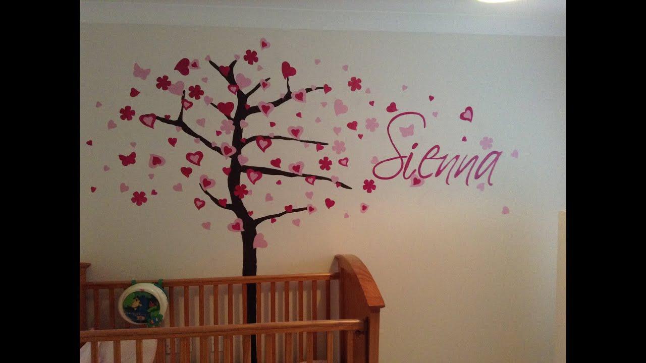 wall mural tree name girl s nursery youtube wall mural tree name girl s nursery