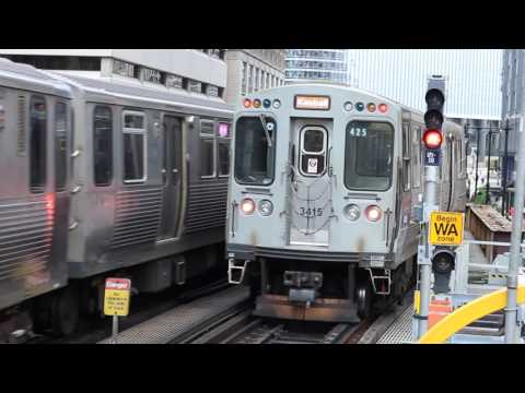 Chicago Transit Authority Brown And Pink Lines enter and leave Randolp/Wabash