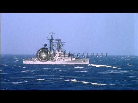 USS Little Rock ship underway in rough sea in Mediterranean. HD Stock Footage