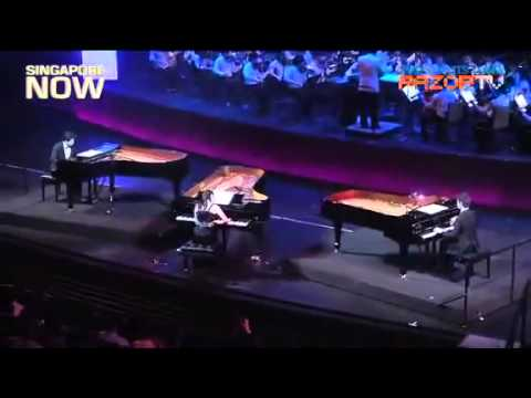 Nguyen Le Binh Anh, Gun, Wei Ting. Mozart. Concerto No 7 in F, K242, for 3 Pianos & Orchestra