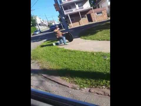 Hilarious carrying manhole cover Hazleton pa