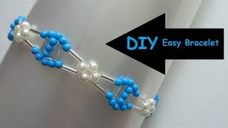 Romantic bead charm blue bracelet. Easy beading pattern for beginners