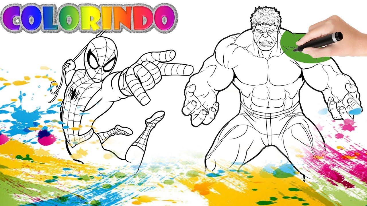 Colorir Homem Aranha E Hulk Da Marvel Desenho Educativo