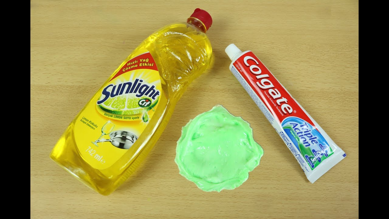 Dish Soap and Colgate Toothpaste Slime , How to Make Slime Soap Salt and  Toothpaste, NO GLUE !!