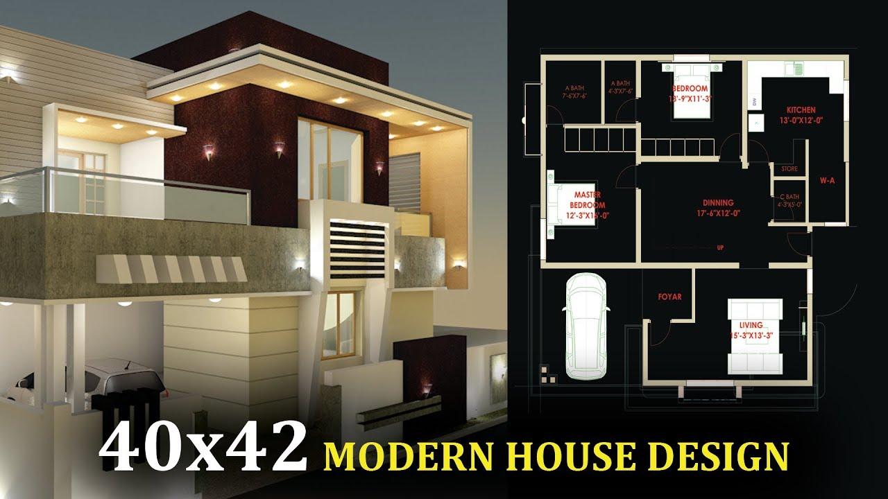 40x42 Modern Home Design 40 By 42 Ghar Ka Naksha Youtube