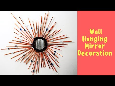 DIY Wall Hanging Mirror Decoration | Newspaper with Mirror Wall decor | wall hanging with glasses