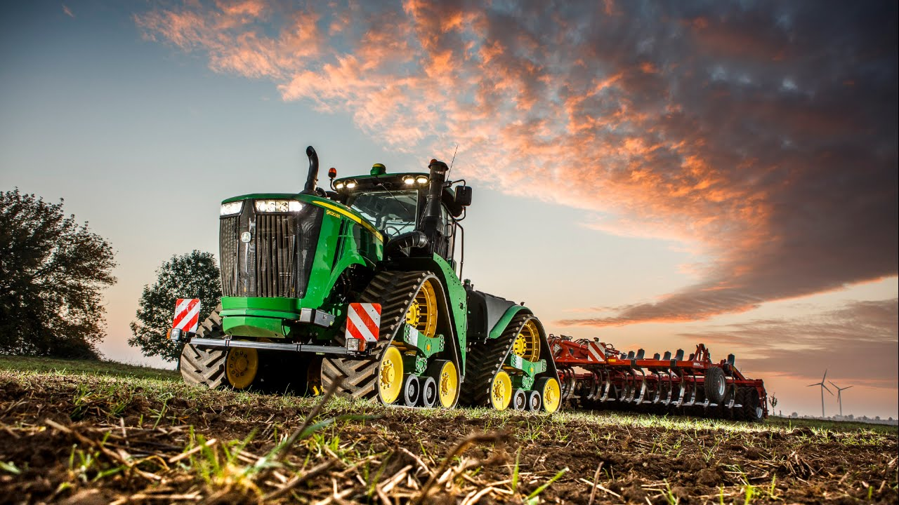the new john deere 9rx series tractor at work night time youtube