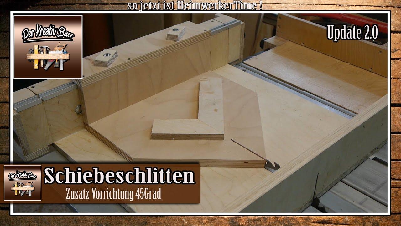 schiebeschlitten f r die tischkreiss ge 45 grad vorrichtung selber bauen youtube. Black Bedroom Furniture Sets. Home Design Ideas