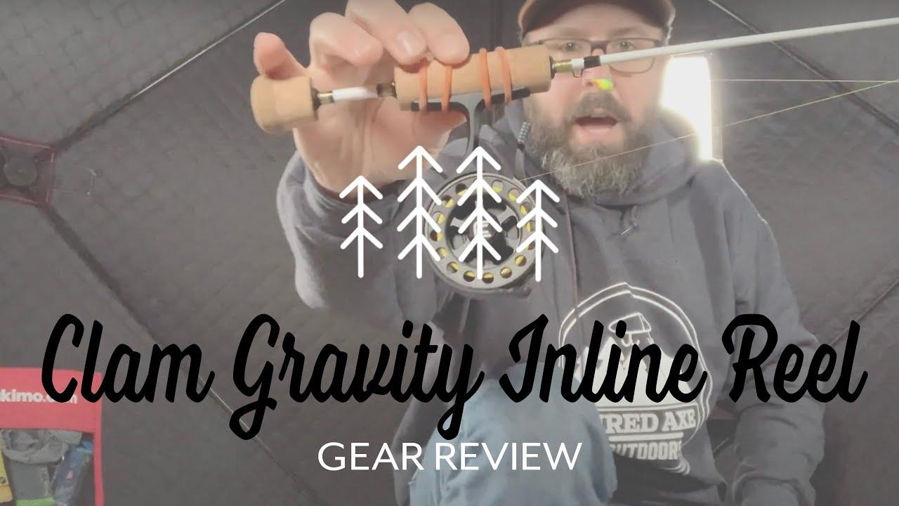 Left Hand Clam Gravity Elite Inline Ice Fishing Reel