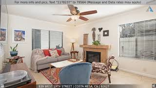 Priced at $649,900 - 939 West 19th Street, Costa Mesa, CA 92627
