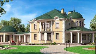 Проект дома в классическом стиле. Дом с эркером, сауной и террасой. Ремстройсервис М-302