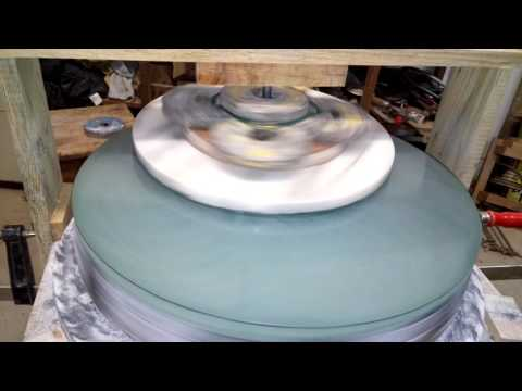 Grinding a 40 cm f3 telescope mirror with 220 grit silicon carbide.