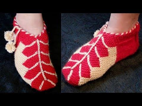 Easy New Flower Socks Design (knitting) in hindi