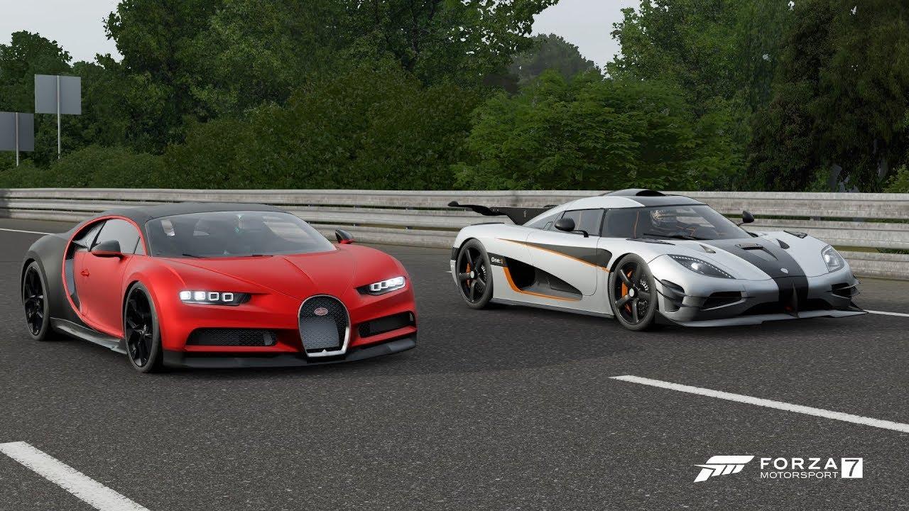 forza 7 drag race bugatti chiron sport vs koenigsegg one 1 youtube