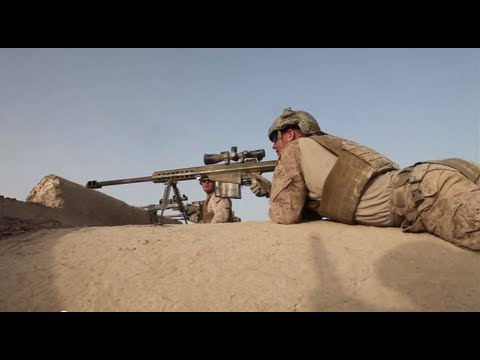 *RAW* Marine Scout Snipers Shoot Enemy during Operation Helm