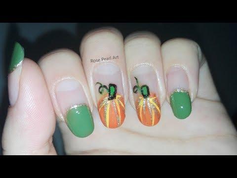Pumpkin Nail Art Tutorial for Thanksgiving(FRENCH MANICURE)-Holiday Nails/Festive Nails | Rose Pearl thumbnail