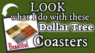 LOOK what I do with these DOLLAR TREE COASTERS   Dollar Tree FARMHOUSE DIY