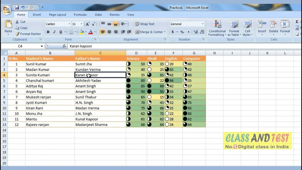 sample excel table