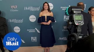 Mandy Moore in off the shoulder dress on THR carpet