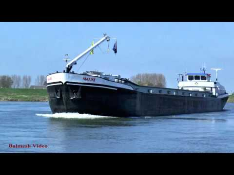 Ijssel River Barge Passing Car Ferry