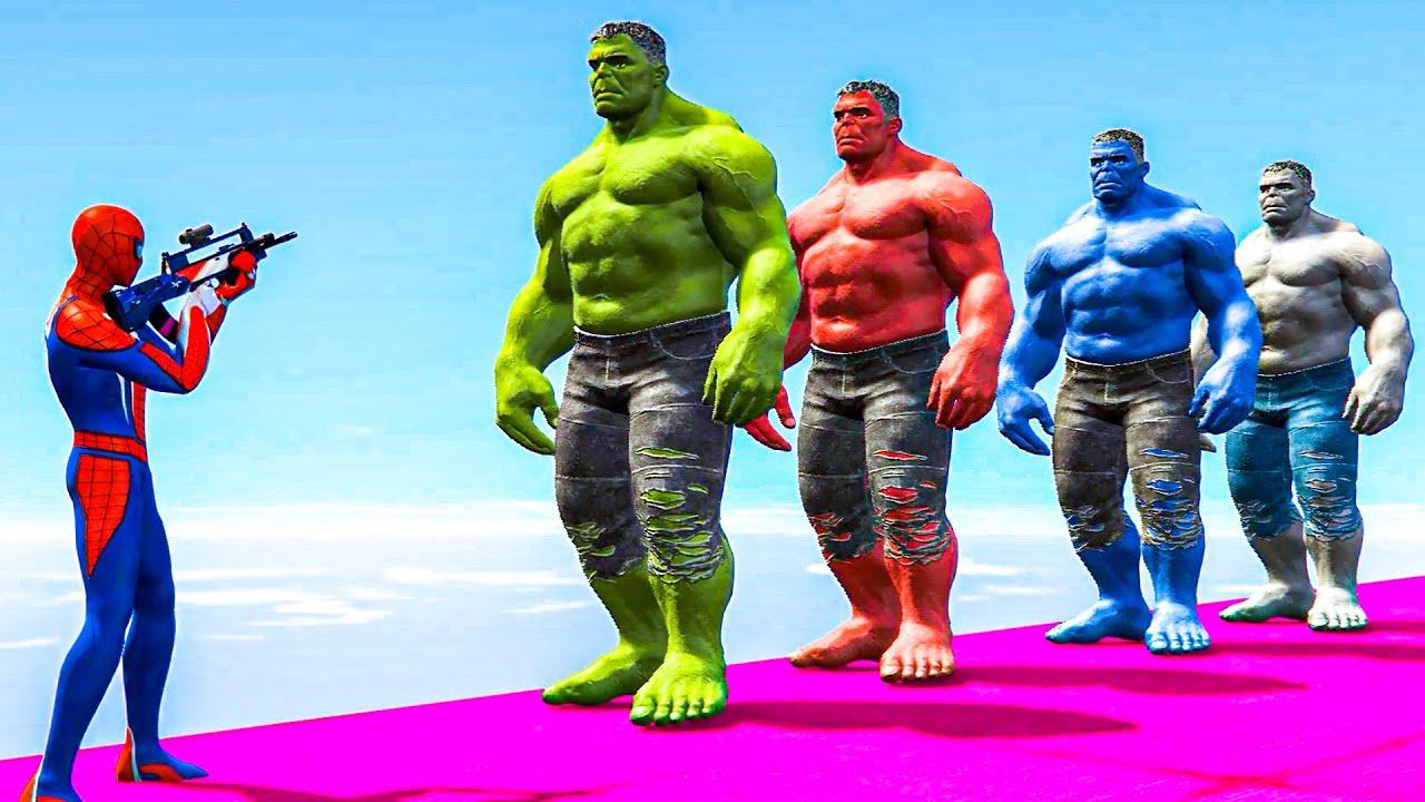 Spiderman aur Hulk ki Funny Moments Video - Spider-man vs Hulk GTA 5 Ragdolls