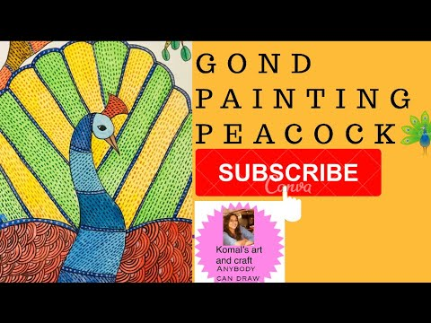 How to draw Gond art peacock – Gond painting – Indian folk art – Gond painting tutorial