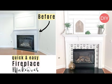 Fireplace Makeover DIY | Renter & Budget Friendly | Adhesive Wallpaper | Ashleigh Lauren