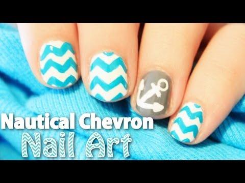 Nautical Chevron Nail Art | TotallyCoolNails