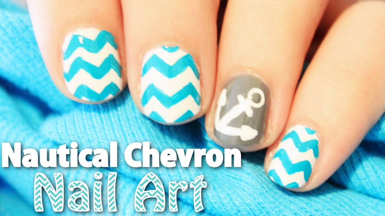 Nautical Chevron Nail Art | TotallyCoolNails - YouTube