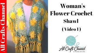 Crochet yellow flower shawl / Part One