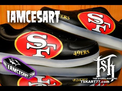 Airbrushing the 49ers SF Logo on some Shoes (Stencil Tactics)