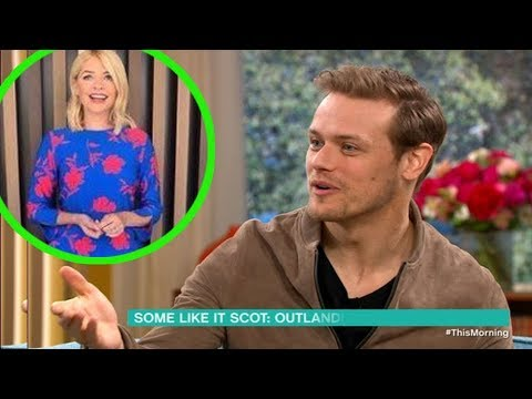 Outlander's Sam Heughan makes Holly Willoughby go weak as he appears on This Morning