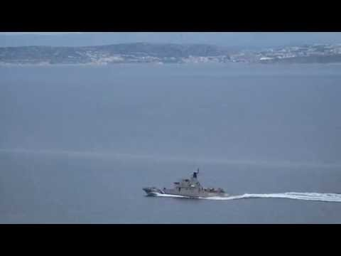 Hellenic Coast Guard OPV 050 Arkoi patrolling Aegean Sea.