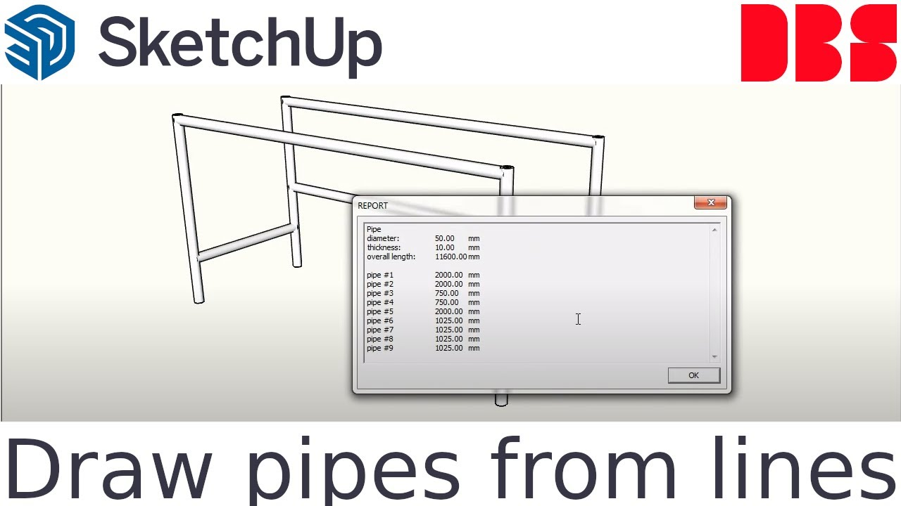 Sketchup Extension - Draw pipes from lines PRO by DBS