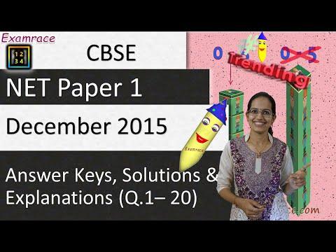 CBSE NET December 2015 Paper 1 (Q.1-20): Answer Keys, Solutions & Explanations