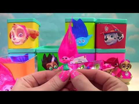 Huge Toy Surprise Blind Boxes with Paw Patrol, PJ Masks and Trolls - Learn Colors