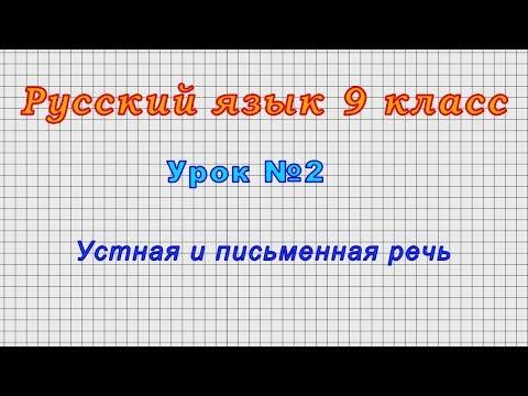 Русский язык 9 класс (Урок№2 - Устная и письменная речь)