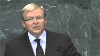 Former Foreign Minister Kevin Rudd presents Australia