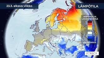 Kuukausiennuste lämpötiloista 17.3.2020