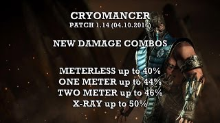 "MKX: Sub Zero ""Cryomancer"" new damage combos. Patch 1.14. Meterless 40%, meterburn 46% , Xray 50%"