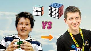 2x2 - 7x7 Rubik's Cube Race Feliks Zemdegs vs Feliks Zemdegs