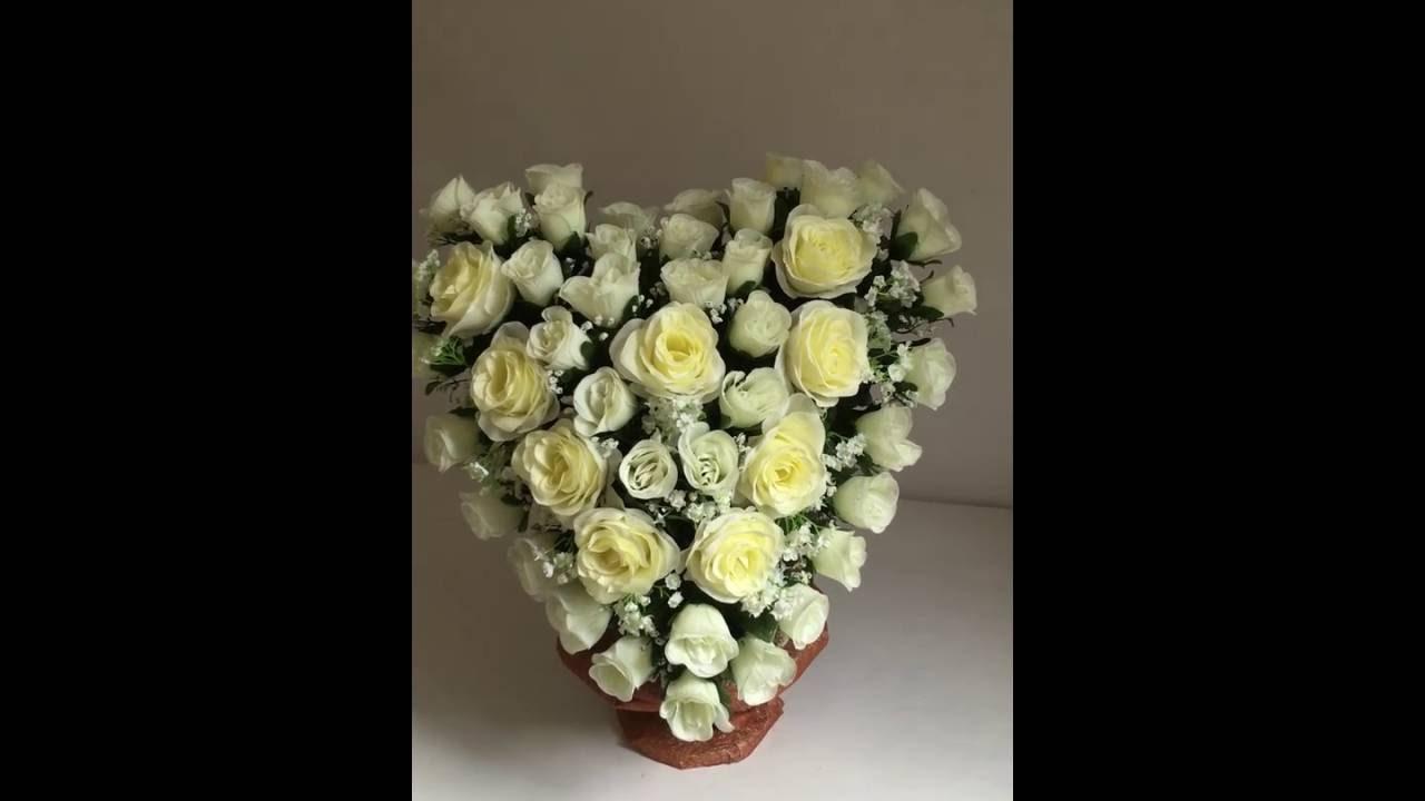 Coeur fleur artificielle tissus youtube - Coeur fleurs artificielles ...