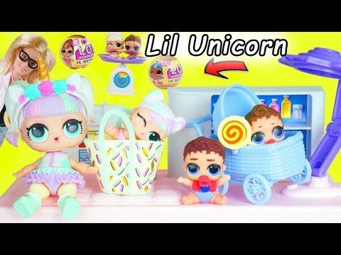 Unicorn Baby Gets New Lil Sister LOL Surprise Dolls Boy + Custom Punk Boi Confetti Pop Orbeez