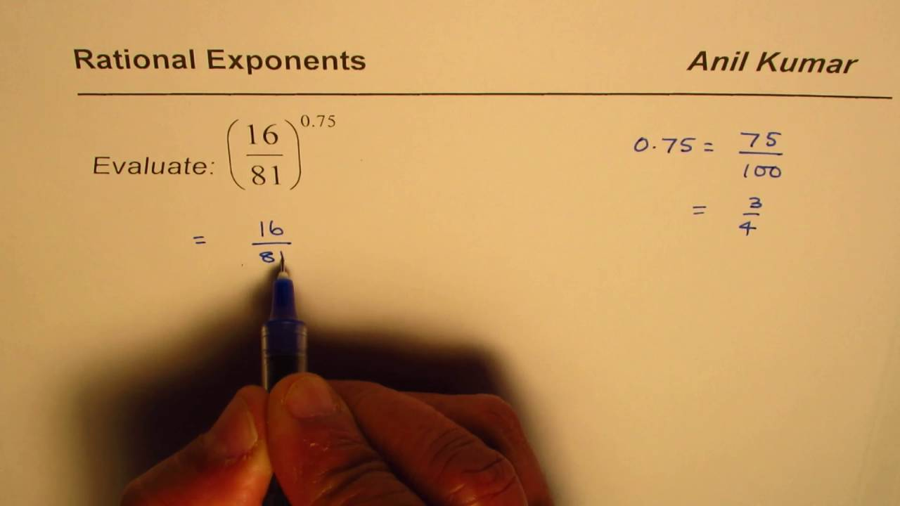 How To Evaluate Rational Exponent In Decimals